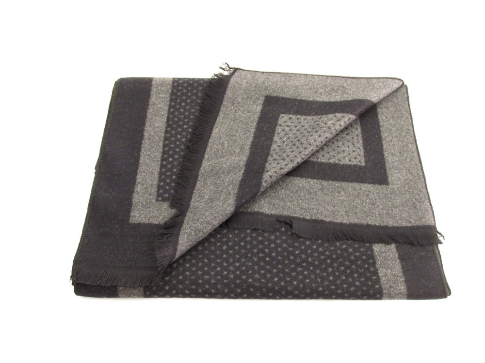 Black and Grey Small Dotted Reversible Scarf by Van Buck