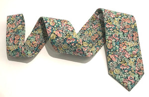 Chive Green Cotton Tie Made with Liberty Fabric