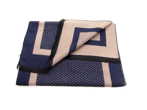 Navy and Beige Dotted Reversible Scarf by Van Buck