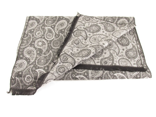 Small Paisley Black & White Scarf by Van Buck