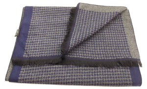 Navy Blue and Grey Dog Tooth Reversible Scarf by Van Buck