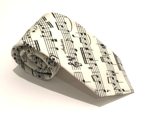 Music Score Cotton Tie by Van Buck