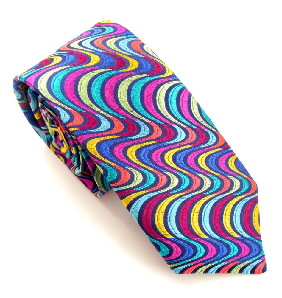 Van Buck Limited Edition Multicoloured Large Wave Silk Tie