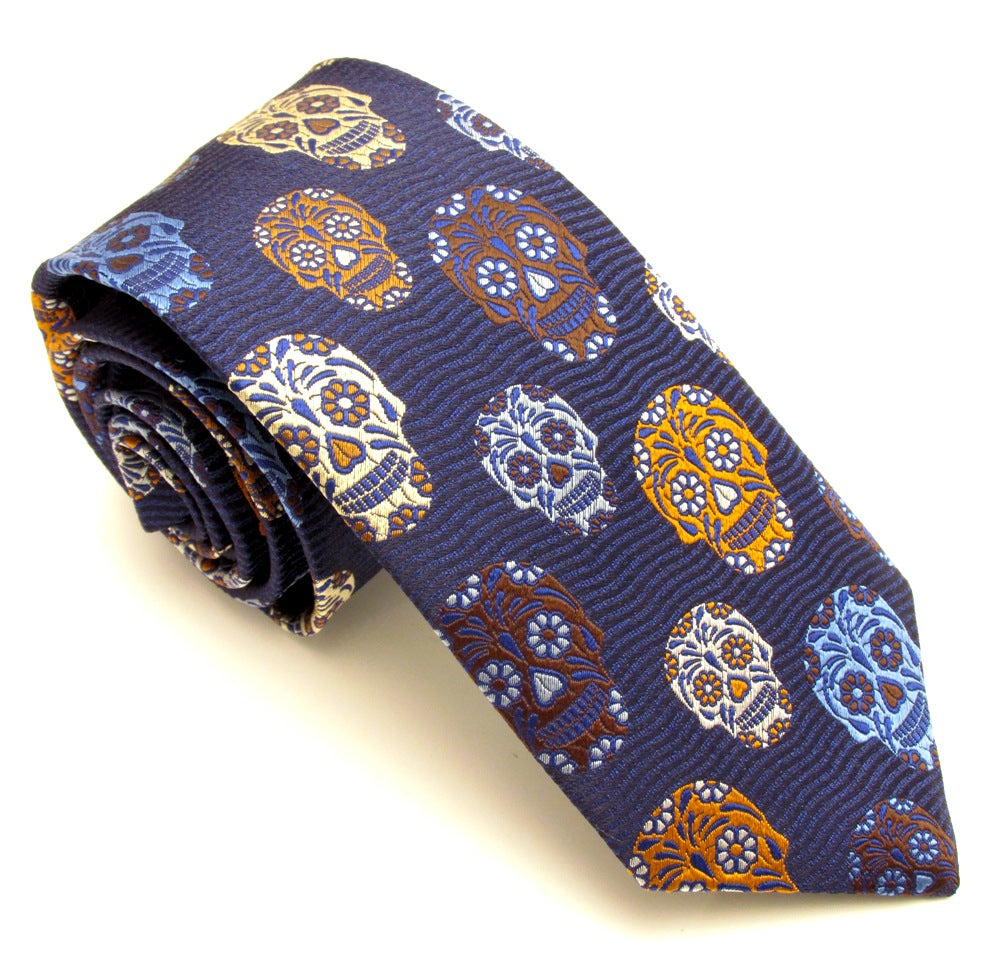 Limited Edition Navy Blue Wave and Brown Skull Silk Tie by Van Buck