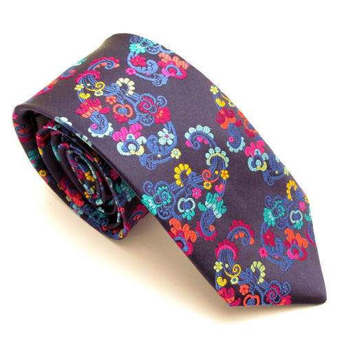 Limited Edition Navy Floral Vine Silk Tie by Van Buck