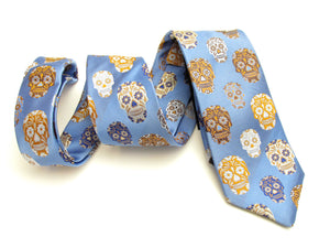 Limited Edition Sky Blue and Brown Skull Silk Tie by Van Buck