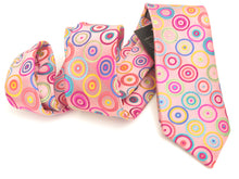 Limited Edition Pink with Multicoloured Circles Silk Tie by Van Buck