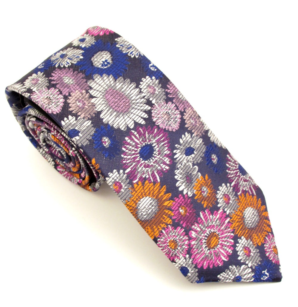Limited Edition Multicoloured Pastel Blurred Flower Silk Tie by Van Buck