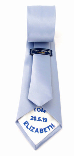 Personalised Wedding Tie Royal Blue Embroidery On White Tipping By Van Buck