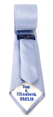 Personalised Wedding Tie Royal Blue Straight Embroidery On White Tipping By Van Buck