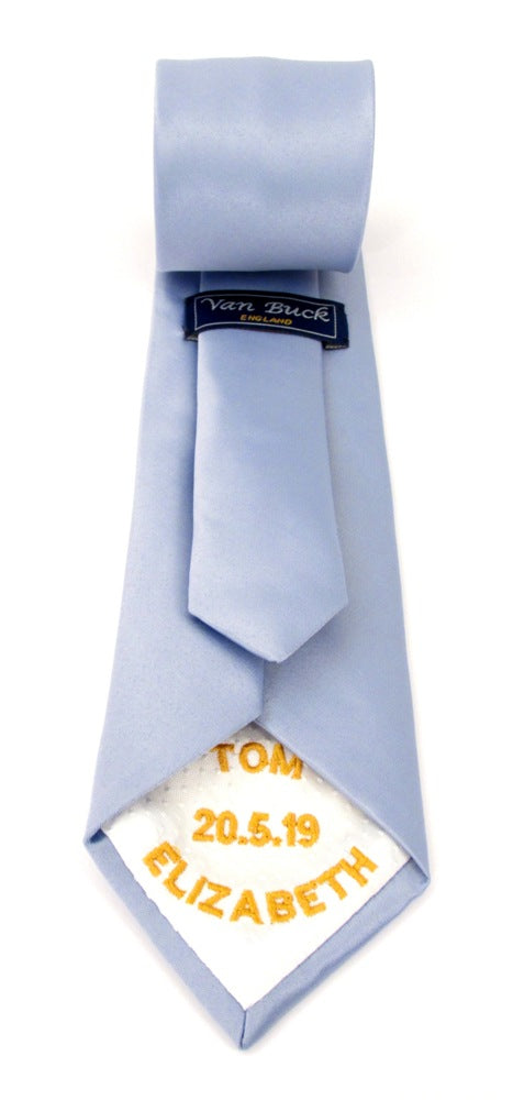 Personalised Wedding Tie Gold Embroidery On White Tipping By Van Buck