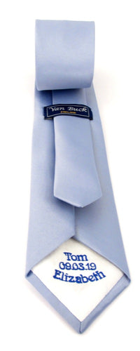 Personalised Wedding Tie Royal Embroidery On White Tipping By Van Buck