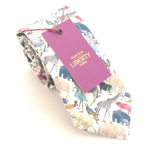 Queue For The Zoo Cotton Tie Made with Liberty Fabric