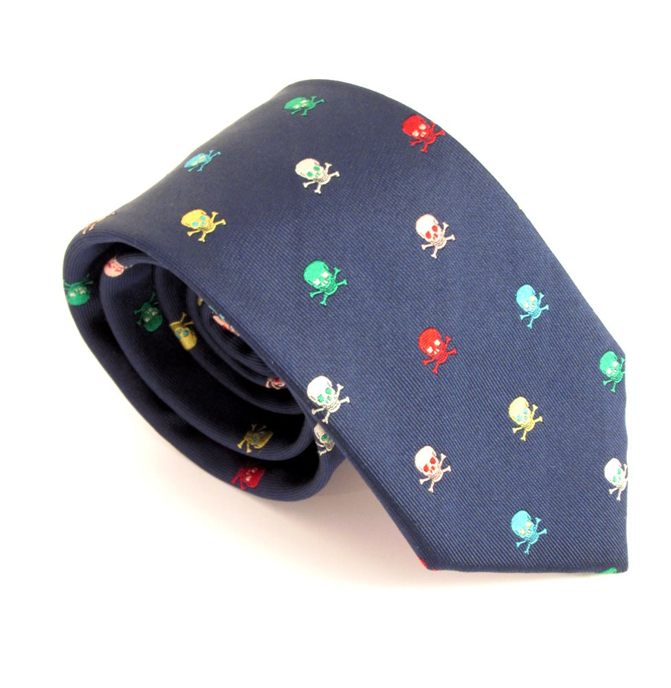 Multicoloured Skull Motif Silk Tie by Van Buck