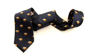 Orange Rhino Motif Silk Tie by Van Buck