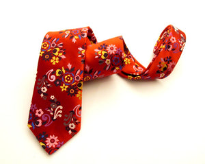 Limited Edition Red Floral Paisley Silk Tie