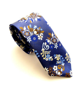 Limited Edition Navy White Floral Paisley Silk Tie