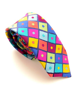 Limited Edition Multicoloured Tiles Silk Tie by Van Buck