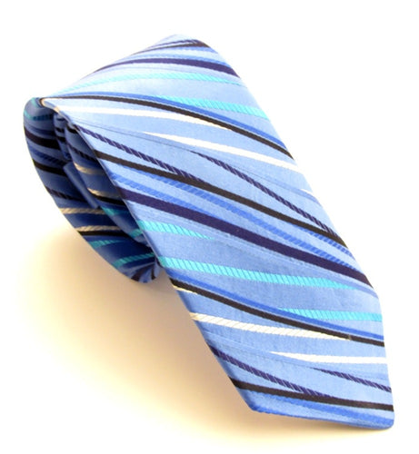 Limited Edition Sky Blue Striped Silk Tie by Van Buck