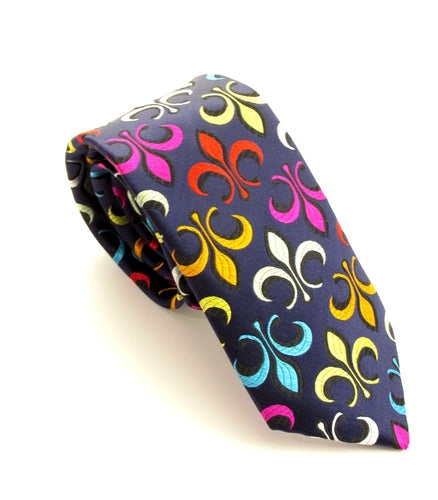 Limited Edition Navy Fleur De Lys Silk Tie