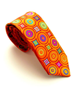 Limited Edition Orange Circles Silk Tie