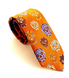 Limited Edition Orange Wavy Silk Skull Tie