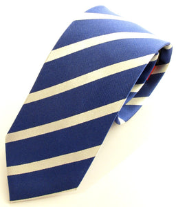 Striped Royal With White Silk Tie