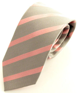 Striped Silver With Pink Silk Tie