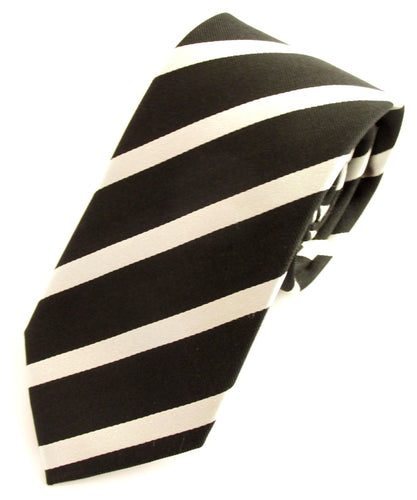 Striped Black With White Silk Tie