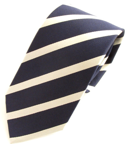 Striped Navy With White Silk Tie