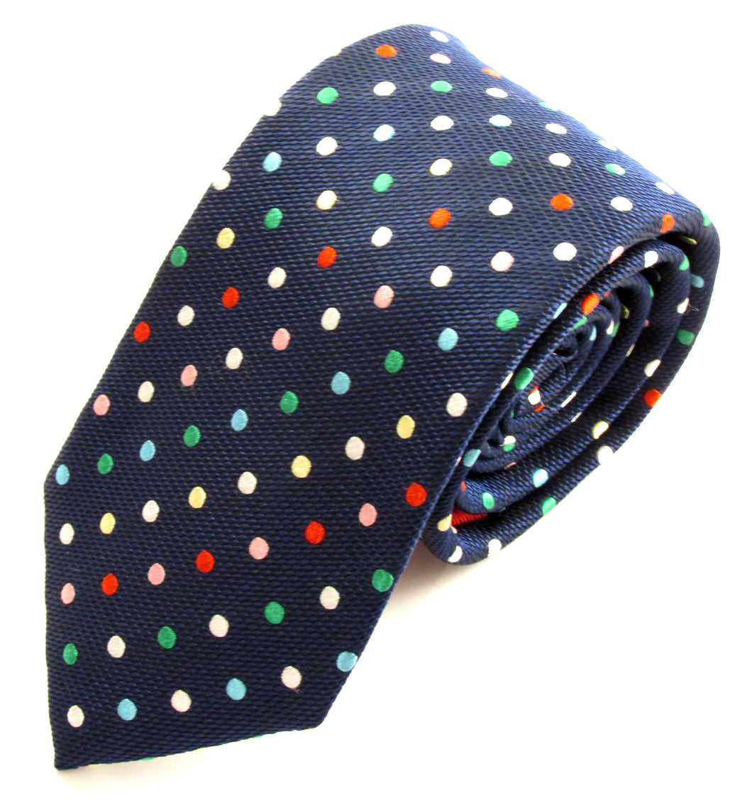 Navy Blue Silk Tie With Multi Coloured Polka Dots