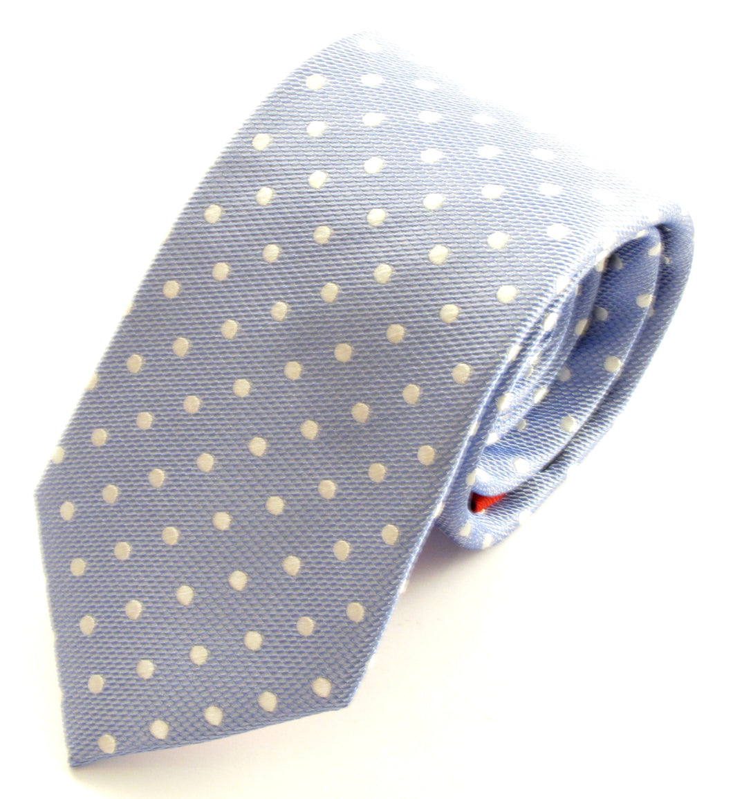 Sky Blue Silk Tie With White Polka Dots