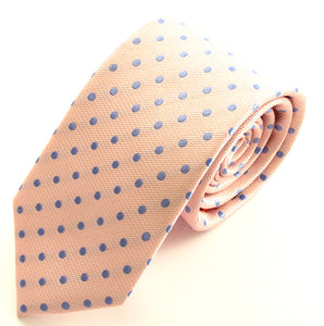 Pink Silk Tie With Sky Blue Polka Dots