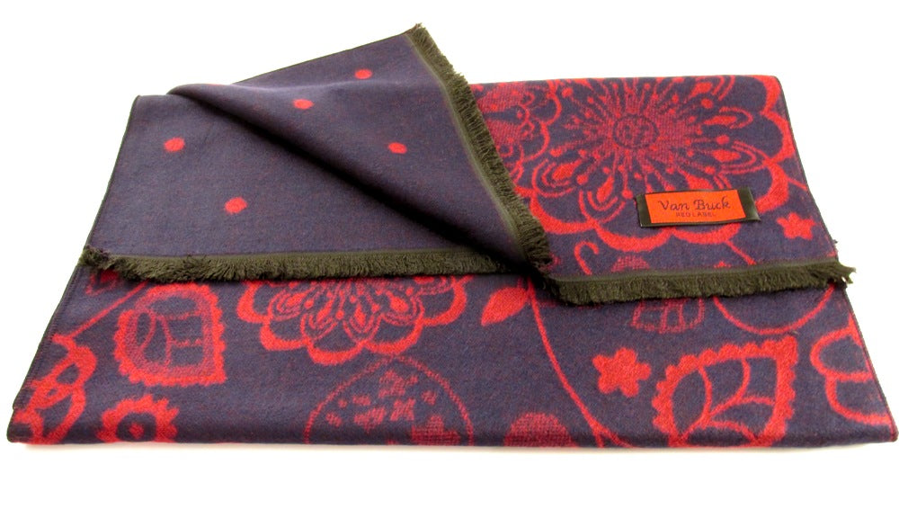 Navy And Red Reversible Scarf With Floral And Dot Pattern