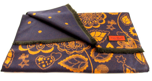 Navy And Orange Reversible Scarf With floral And Dot Pattern