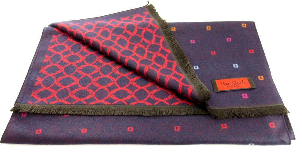 Navy And Multi Reversible Scarf With Square Dot And Oval Pattern