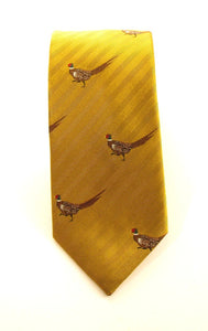 Gold Walking Pheasant Country Silk Tie by Van Buck