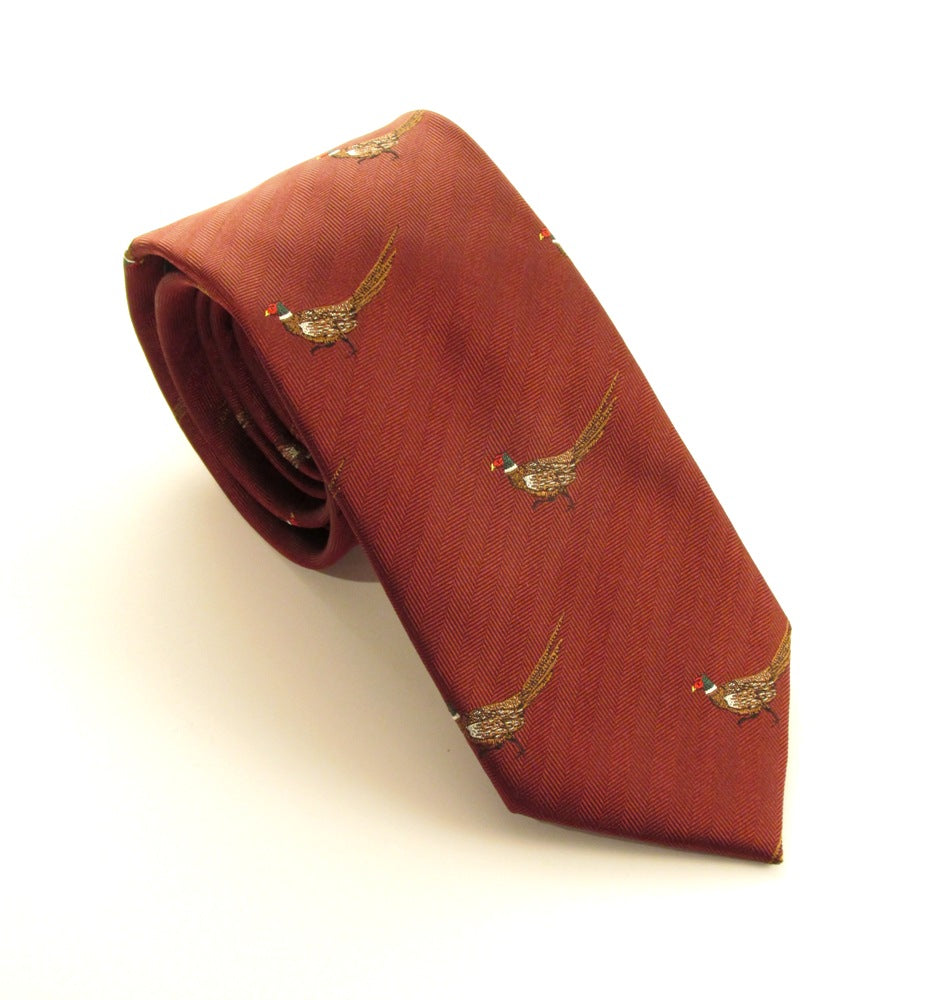 Cherry Red Walking Pheasant Country Silk Tie