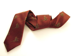 Wine Red Flying Pheasant Country Silk Tie by Van Buck