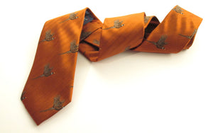 Orange Flying Pheasant Country Silk Tie by Van Buck