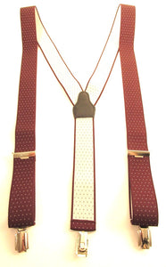 Burgundy With White Dot Trouser Braces