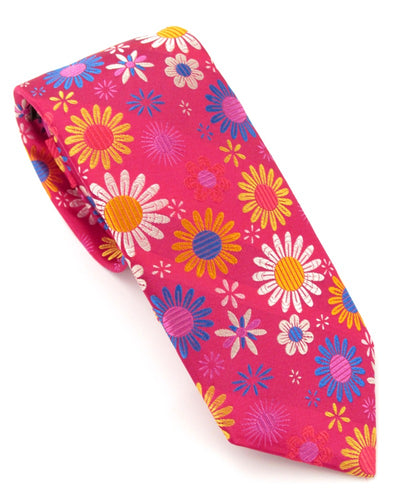 Limited Edition Cerise Flowers Silk Tie