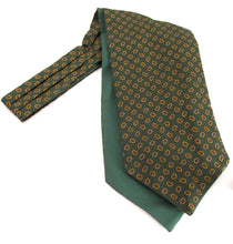 Green Neat Teardrop Paisley Fancy Silk Cravat by Van Buck