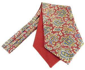 Burgundy Large Paisley Fancy Silk Cravat by Van Buck