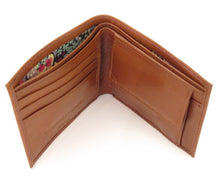 Genuine Brown Leather Coin Wallet Trimmed with Thorpe Green Liberty Fabric