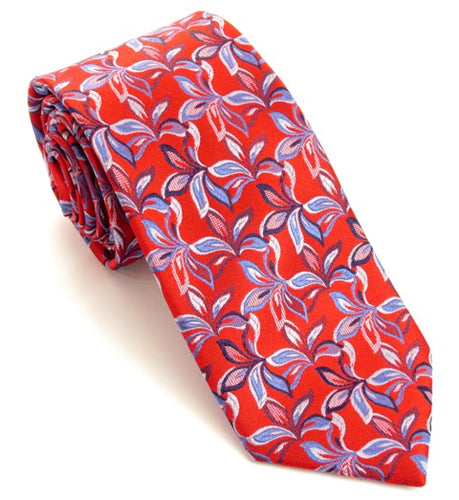 Red Christmas Flowers Silk Tie by Van Buck