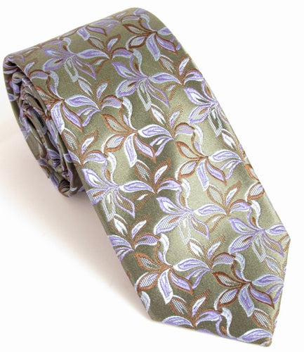 Green Christmas Flowers Silk Tie by Van Buck