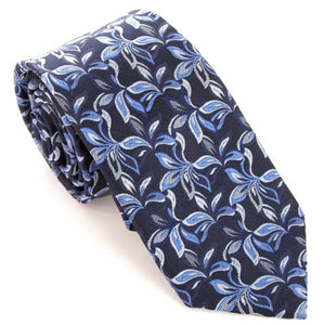 Navy Blue Christmas Flowers Silk Tie by Van Buck