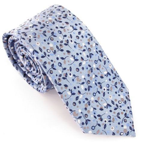 Sky Blue Winter Berries Christmas Silk Tie by Van Buck