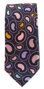 Navy Blue Teardrop Paisley Silk Tie by Van Buck